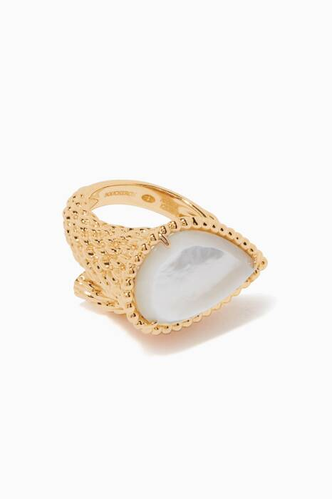 Yellow-Gold & Mother of Pearl Serpent Bohème Ring