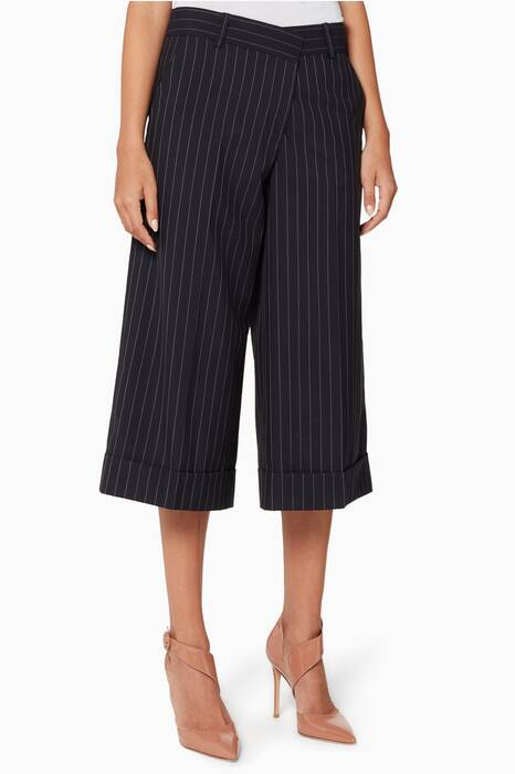 Navy Pinstriped Cropped Pants
