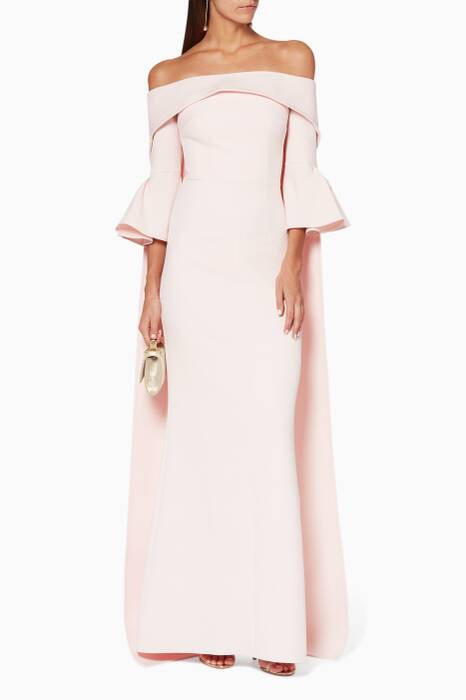 Pink Strapless Gown With Liles Off-The-Shoulder Cape