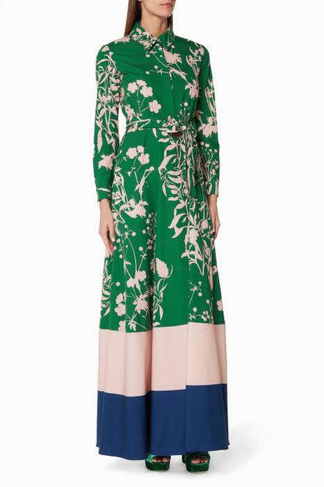 Green Carolina-Print Maxi Dress