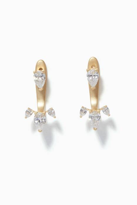 Yellow-Gold & Tear-Drop Diamonds Earrings