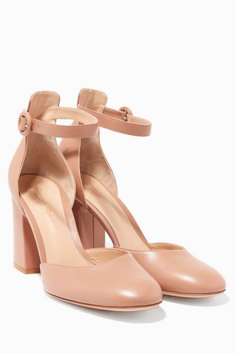 Praline Leather Mary Jane Pumps