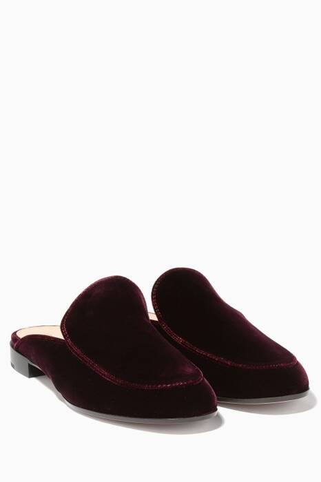 Dark-Red Palau Velvet Backless Loafers