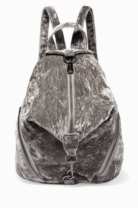 Dark-Grey Medium Julian Velvet Backpack