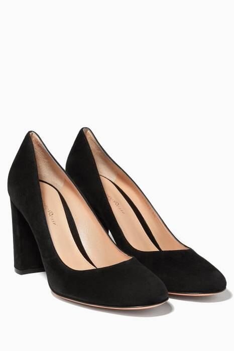 Black Linda Suede Block Heel Pumps