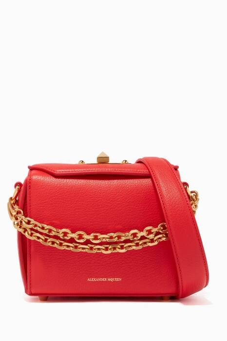 Red Leather Box Bag 16