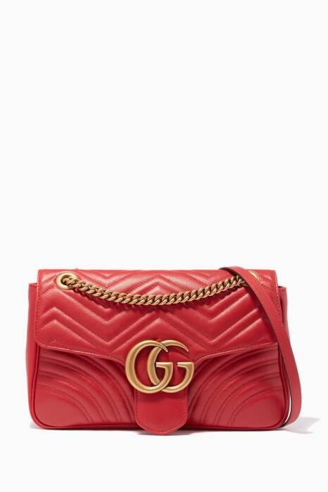 Red Medium GG Marmont 2.0 Quilted Shoulder Bag