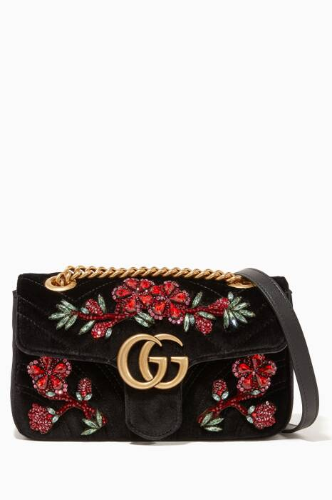 Black GG Marmont 2.0 Mini Velvet Shoulder Bag