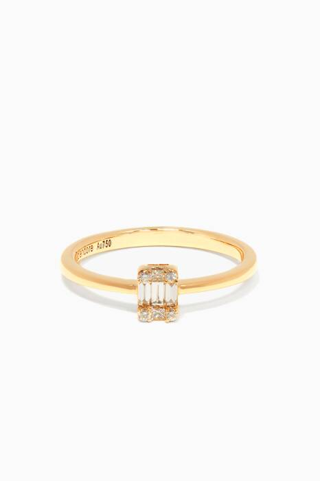 Yellow-Gold & Diamond Rectangle Ring