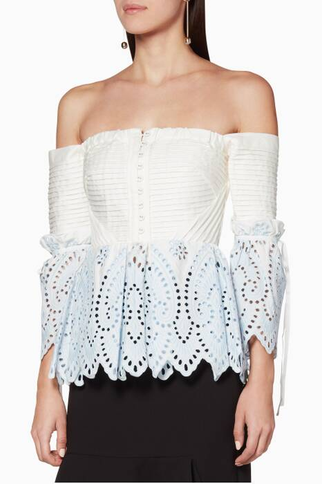 Light-Blue Off-The-Shoulder Broderie Top