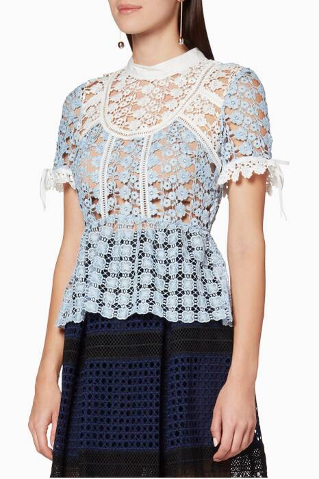 Light-Blue Petal Panelled Top