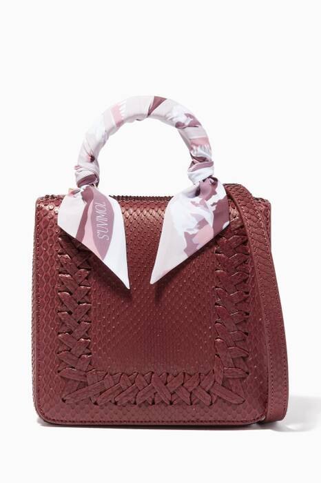 Burgundy Mini Python Square F Top Handle Bag