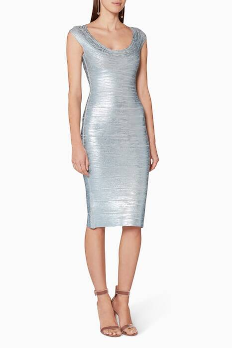 Light-Blue Maria Metallic Bandage Dress