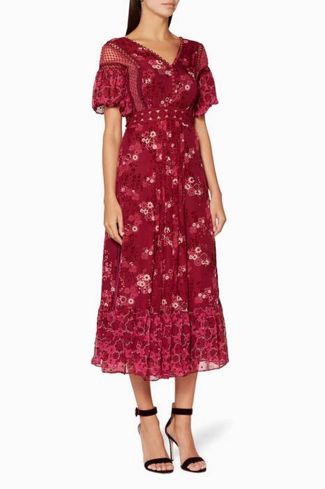 Red Floral Print Devoré Midi Dress