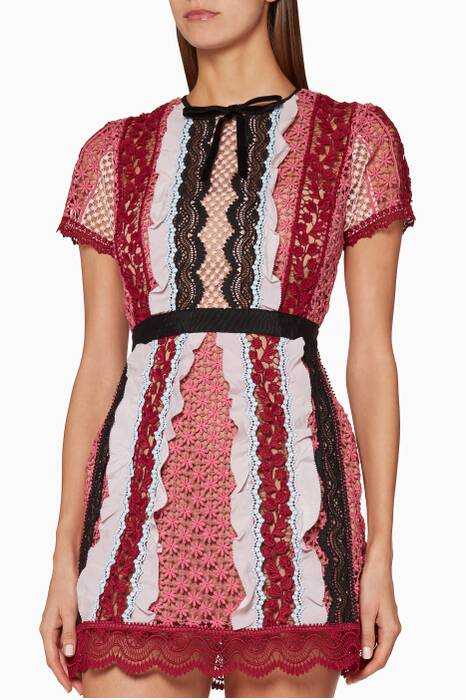 Pink Bellis Lace-Trim Mini Dress