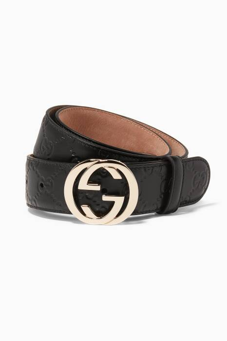 Black Gucci Signature Leather Belt