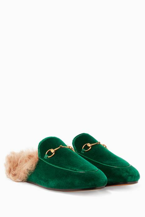 Green Velvet & Lamb-Lined Princetown Loafers