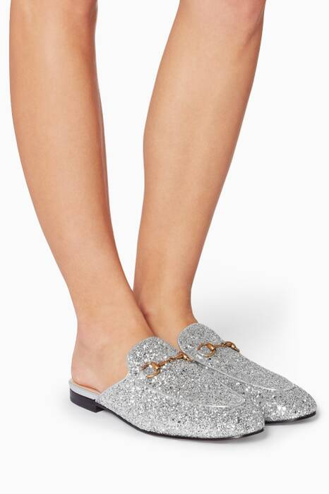 Silver Crystal Glitter Princetown Leather Loafers