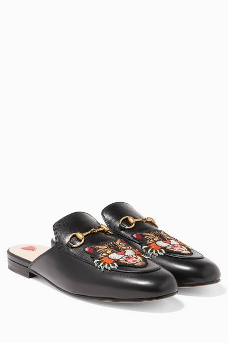 Black Angry Cat Embroidered Princetown Loafers