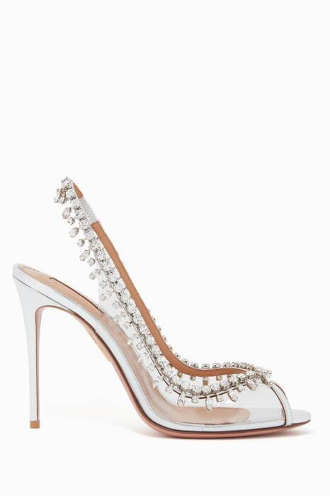 Silver Temptation Crystal Peep Toe Sandals