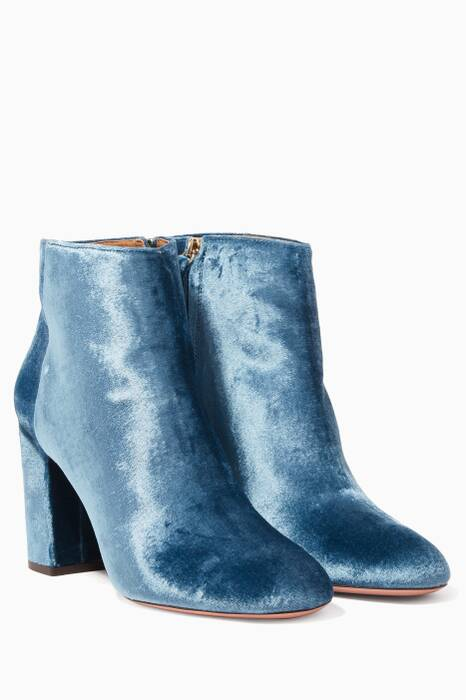 Blue Brookly Velvet Booties