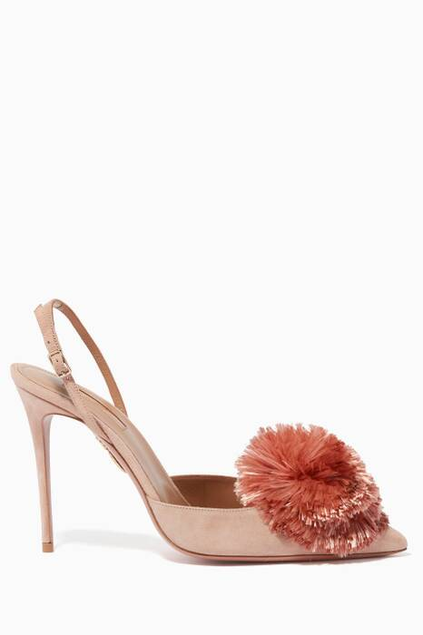 Pink Powder-Puff Velvet Sling-Back Pumps