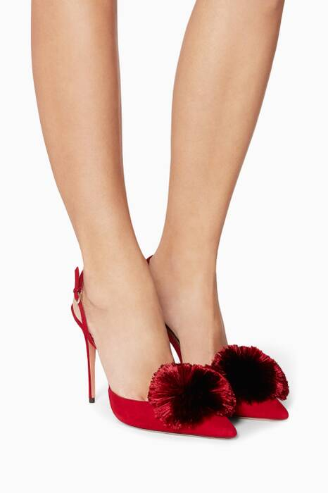 Spice-Red Powder-Puff Suede Sling-Back Pumps