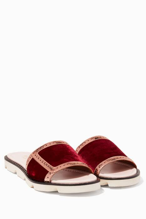 Rust Velvet & Metallic Alberta Slides