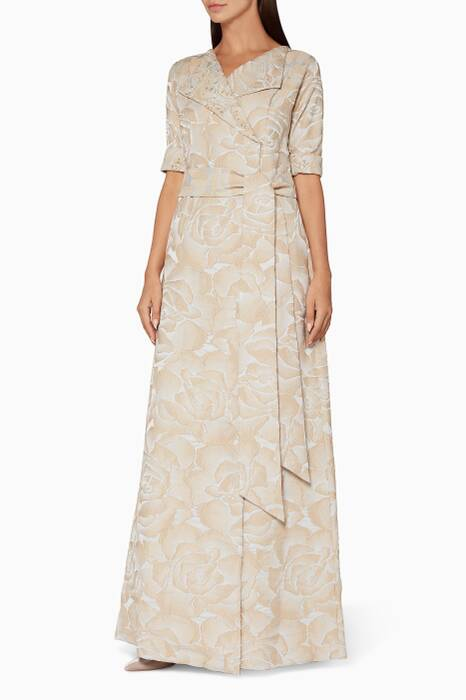 Beige Rami Jacquard Shirtdress