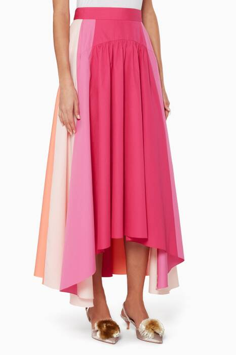Fuchsia Panelled Cotton Skirt