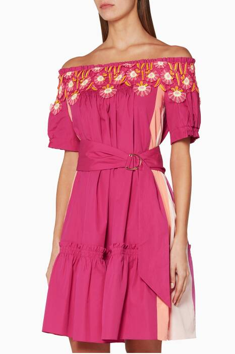 Pink Panelled Lace Dress