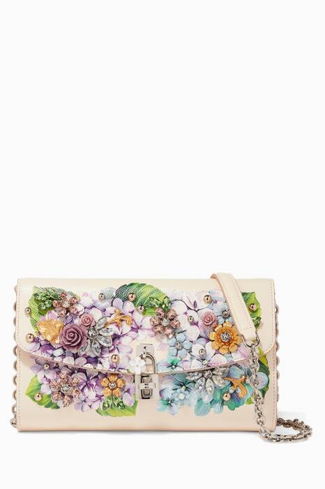 Ivory Ortensia Leather Embellished Shoulder Bag
