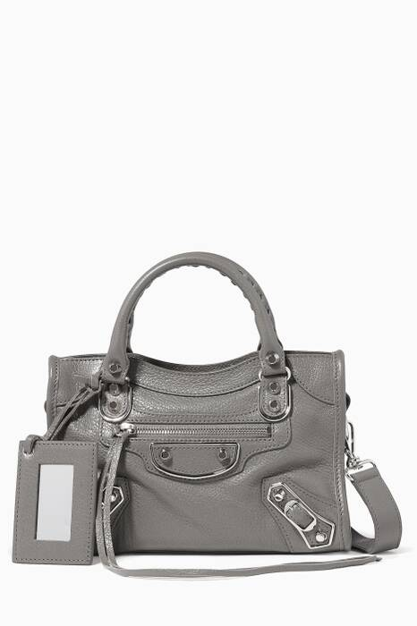 Dark-Grey Metallic Mini Classic City Edge Shoulder Bag