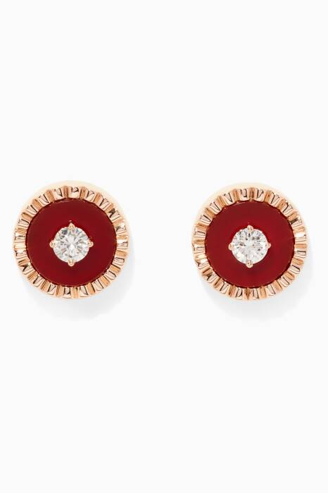 Rose-Gold, Red Agate & Diamond Coco Femme Earrings