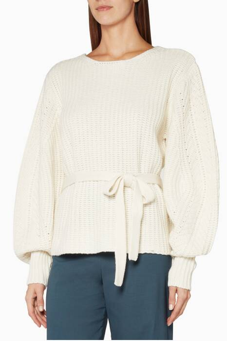 Cream Classic Purl-Knitted Sweater