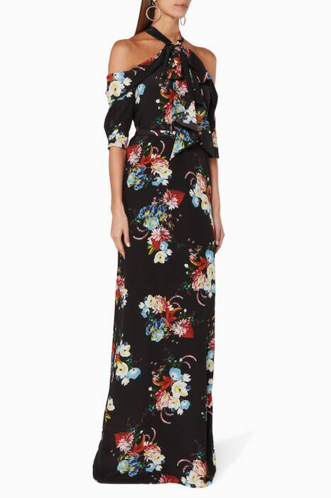 Rose Bouquet Printed Silk Annalise Gown