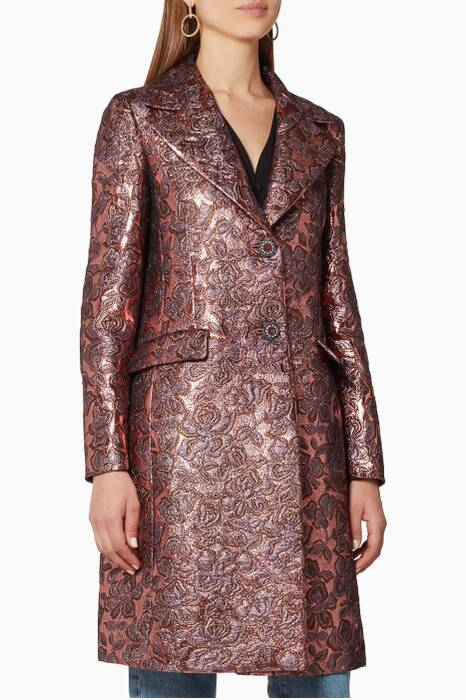 Metallic-Rose Jacquard Coat