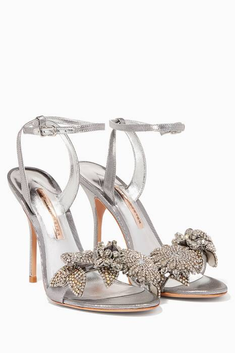 Silver Metallic Crystal Embellished Flower Lilico Sandals