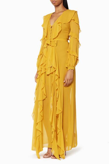 Mustard Ruffled Silk Gown
