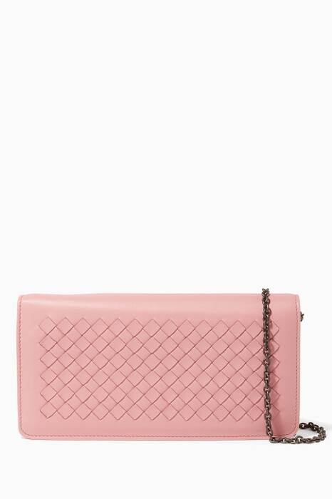 Pink Intrecciato Nappa Leather Wallet-On-Chain