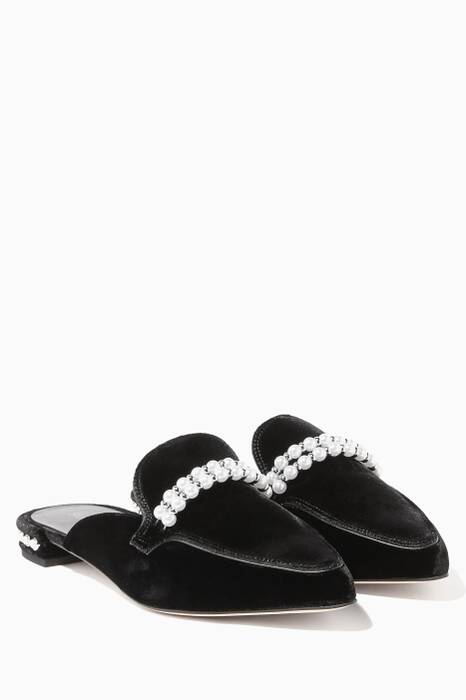 Black Guamule Faux Pearl-Embellished Backless Loafer