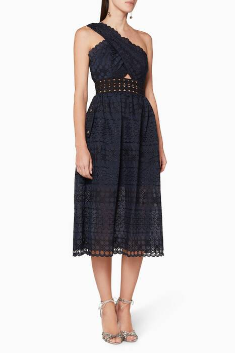 Navy Guipure Lace One-Shoulder Dress