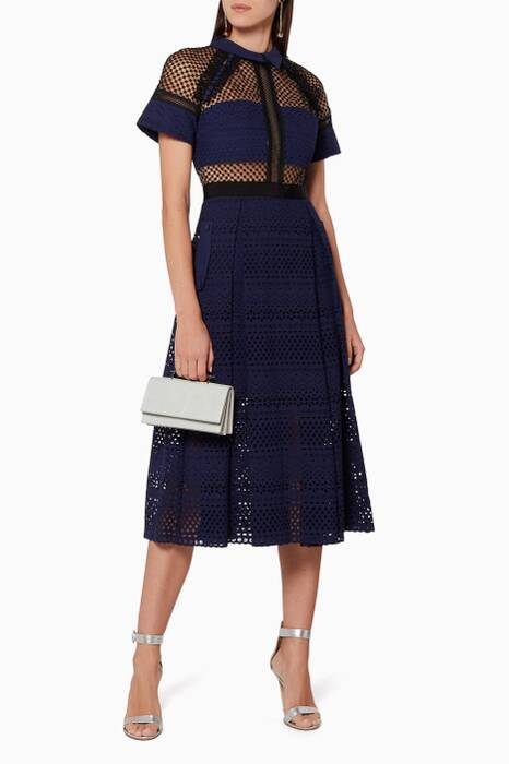 Navy Floral Broderie Midi Dress