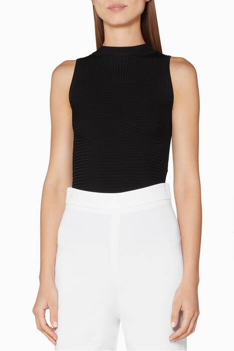 Black Sleeveless Ribbed Bodysuit
