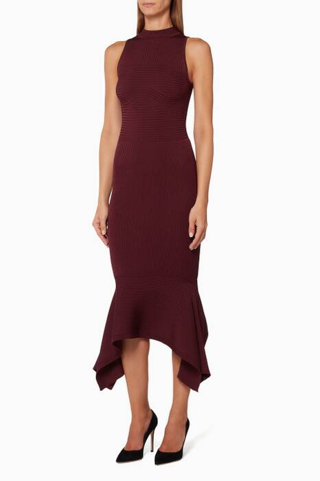 Purple Curved-Hem Pencil Dress