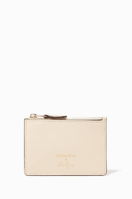 Cream Coach X Selena Gomez Mini Skinny ID Case
