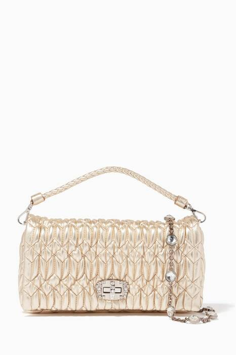 Gold Matelassé Crystal-Embellished Leather Shoulder Bag