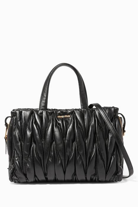 Black Matelassé  Medium Tote Leather Shoulder Bag