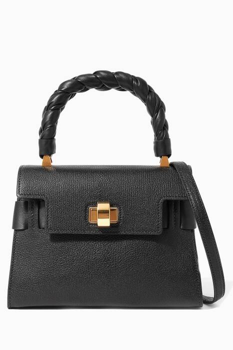 Black Click Braided Top Handle Bag
