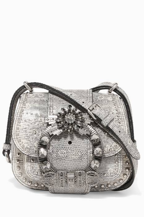 Light-Grey Crystal-Embellished Cross-Body Bag